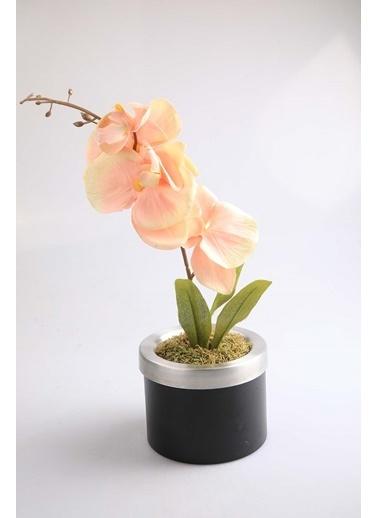 Kibrithane Çiçek Yapay Çiçek Metal Saksı Somon Kumaş Orkide Kc00200818 Renkli